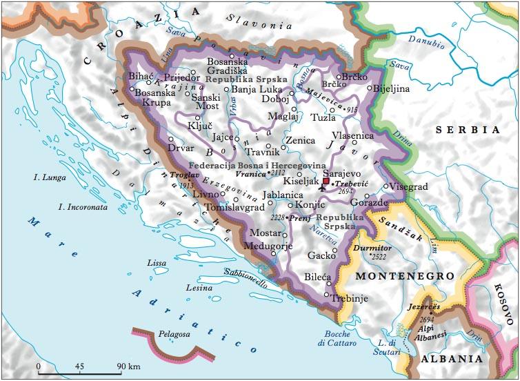 Cartina Geografica Slovenia Croazia Bosnia.Bosnia Ed Erzegovina Nell Enciclopedia Treccani