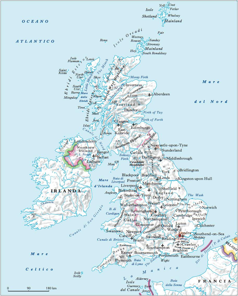 Cartina Geografica Fisica Della Gran Bretagna.Gran Bretagna E Irlanda Del Nord Regno Unito Di Nell Enciclopedia Treccani