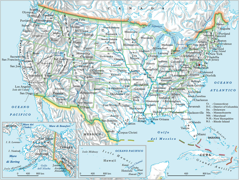 Usa Cartina Geografica Fisica.Stati Uniti D America Nell Enciclopedia Treccani