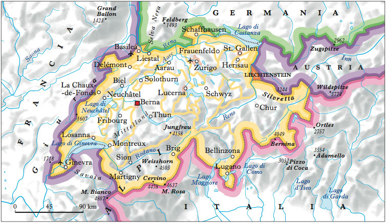 La Cartina Geografica Della Svizzera.Svizzera Nell Enciclopedia Treccani