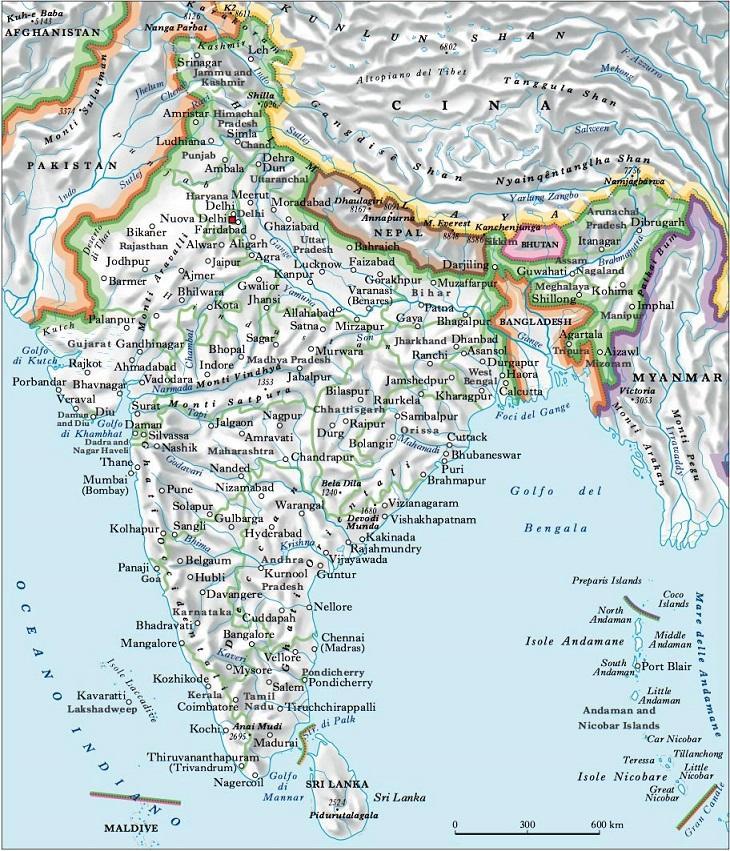 India Politica Cartina.India Nell Enciclopedia Treccani