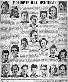 """Le 21 donne alla Costituente, """"La Domenica del Corriere"""", 4 agosto 1946, Biblioteca della Camera dei Deputati"""