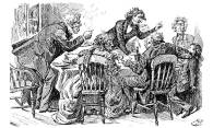 Harry Furniss, Pip Does Not Enjoy His Christmas Dinner, da Dickens's Great Expectations, Charles Dickens Library Edition, Educational Book Company, vol. 14, p. 23, 1910