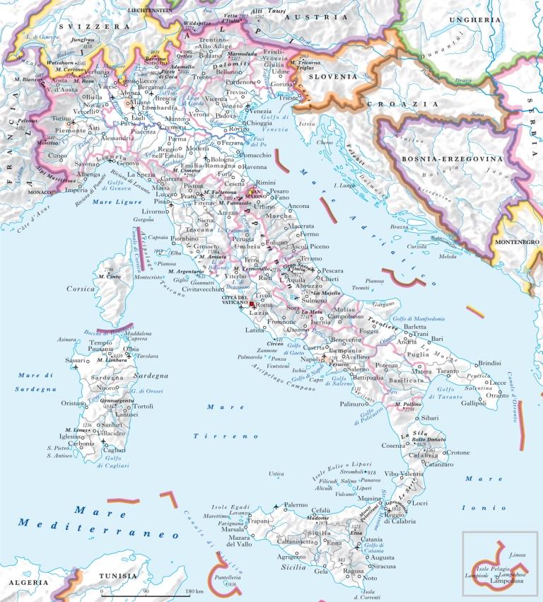 Italia nell 39 enciclopedia treccani - Regioni italiane non bagnate dal mare ...