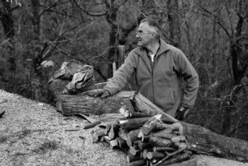 Renato Berta prepara la legna da ardere